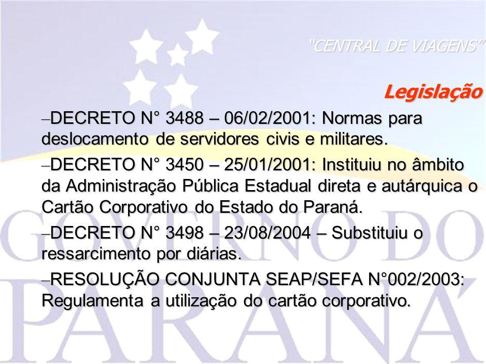 CENTRAL DE VIAGENS Legislação. DECRETO N° 3488 – 06/02/2001: Normas para deslocamento de servidores civis e militares.