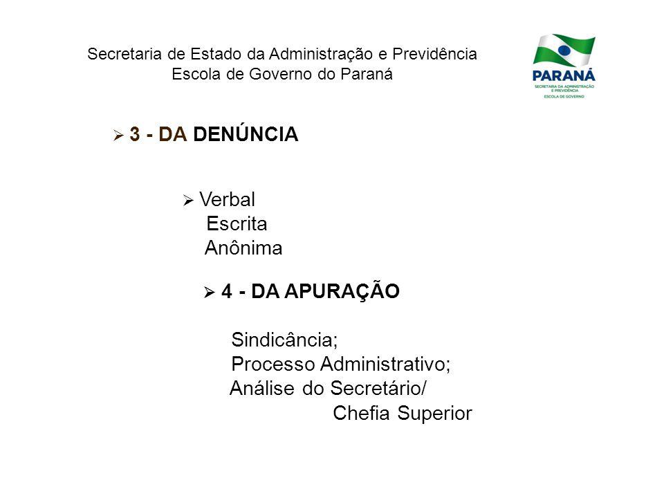 Processo Administrativo; Análise do Secretário/ Chefia Superior