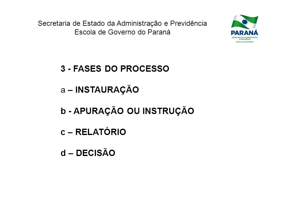 3 - FASES DO PROCESSO a – INSTAURAÇÃO b - APURAÇÃO OU INSTRUÇÃO c – RELATÓRIO d – DECISÃO