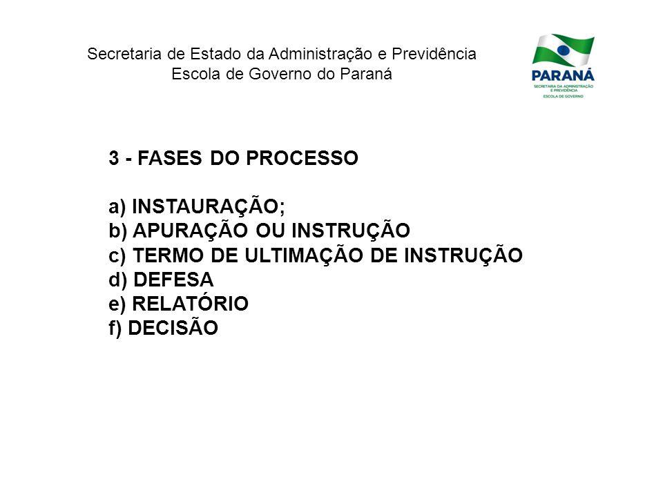 3 - FASES DO PROCESSO INSTAURAÇÃO; APURAÇÃO OU INSTRUÇÃO. TERMO DE ULTIMAÇÃO DE INSTRUÇÃO. DEFESA.