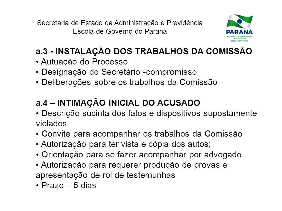 a.3 - INSTALAÇÃO DOS TRABALHOS DA COMISSÃO