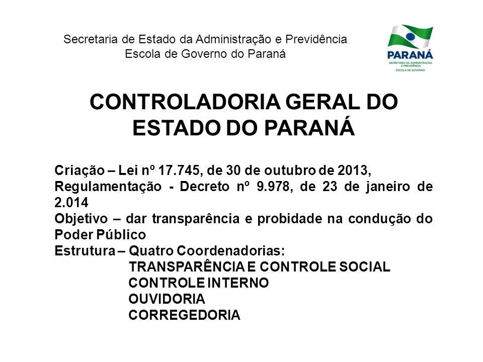 CONTROLADORIA GERAL DO ESTADO DO PARANÁ