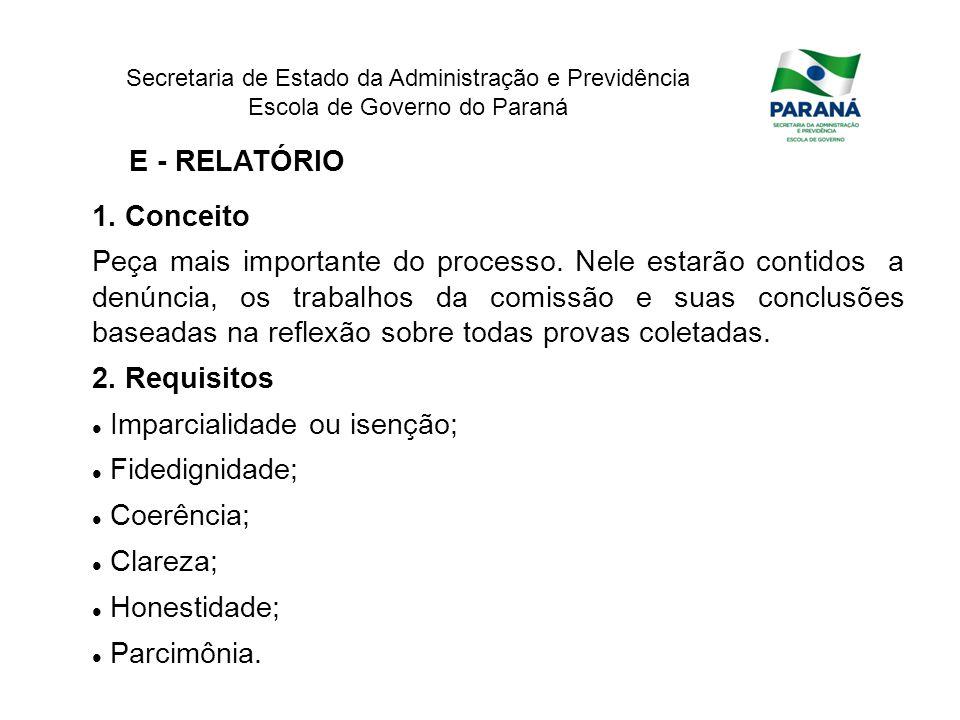 E - RELATÓRIO 1. Conceito.
