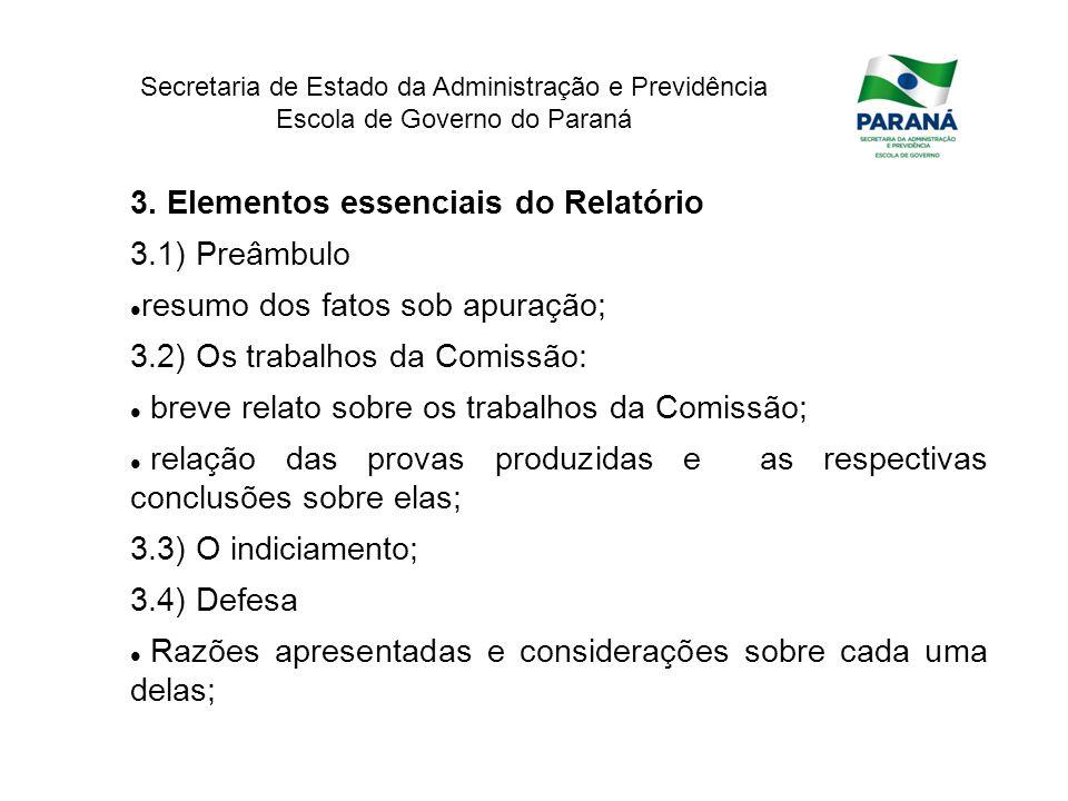 3. Elementos essenciais do Relatório