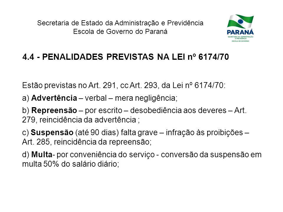 4.4 - PENALIDADES PREVISTAS NA LEI nº 6174/70