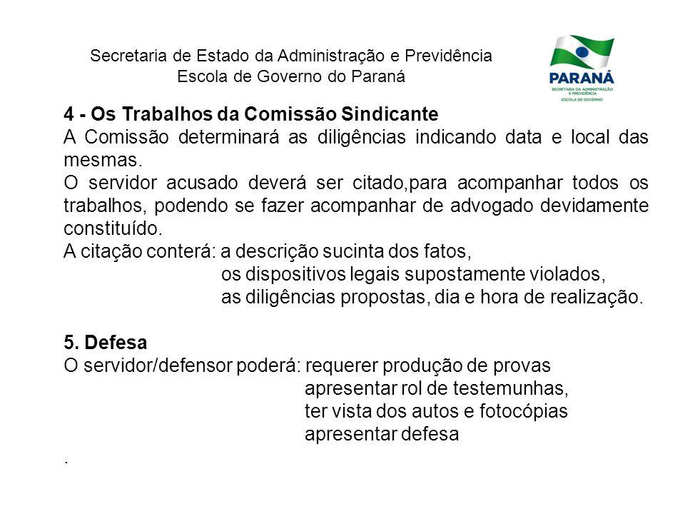 4 - Os Trabalhos da Comissão Sindicante