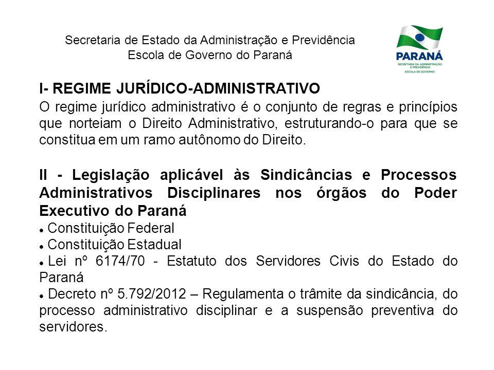 I- REGIME JURÍDICO-ADMINISTRATIVO