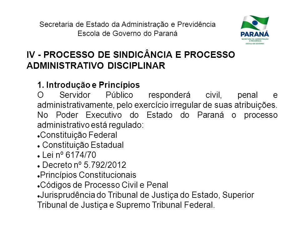 IV - PROCESSO DE SINDICÂNCIA E PROCESSO ADMINISTRATIVO DISCIPLINAR