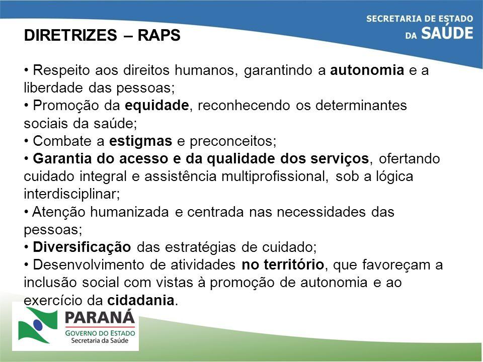 DIRETRIZES – RAPS Respeito aos direitos humanos, garantindo a autonomia e a liberdade das pessoas;
