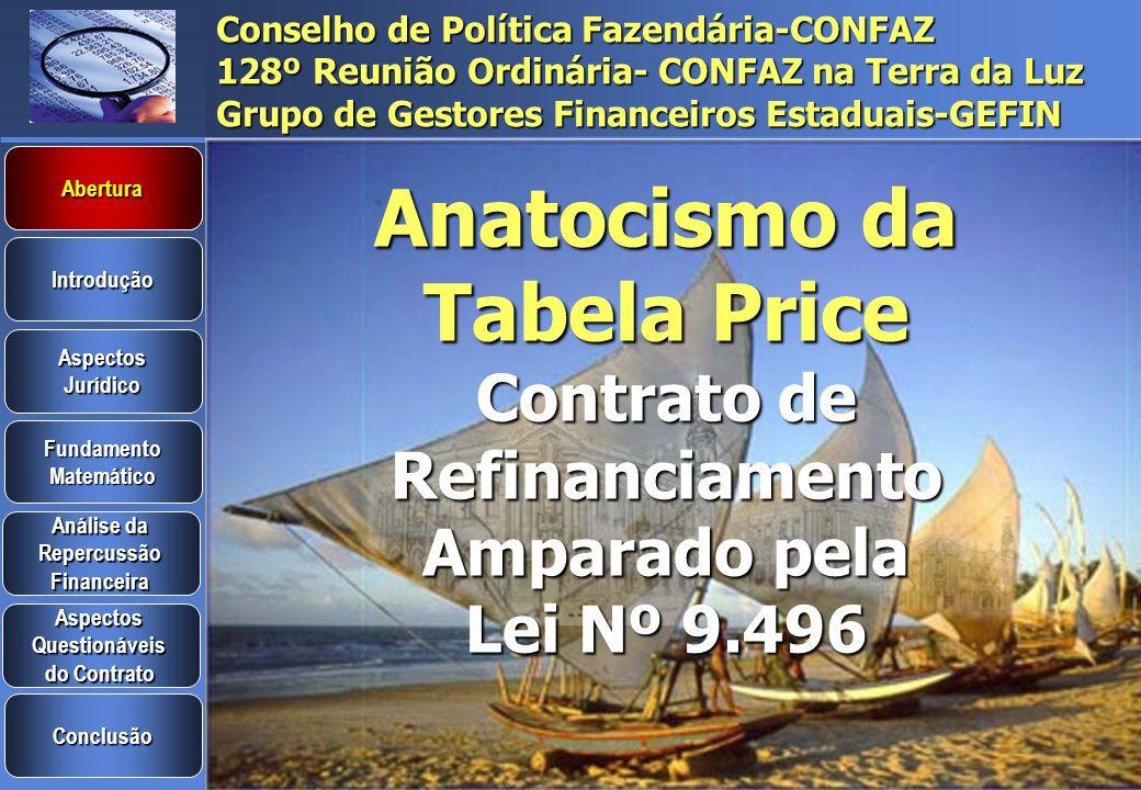 Abertura Anatocismo da Tabela Price Contrato de Refinanciamento Amparado pela Lei Nº 9.496