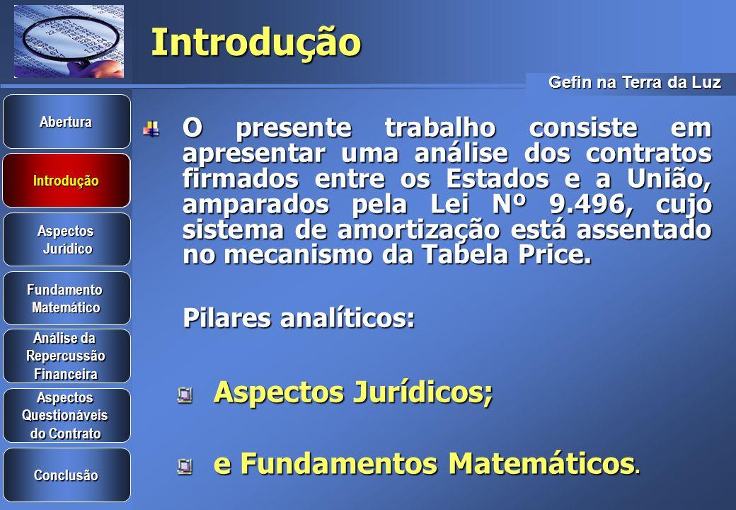 Introdução Aspectos Jurídicos; e Fundamentos Matemáticos.