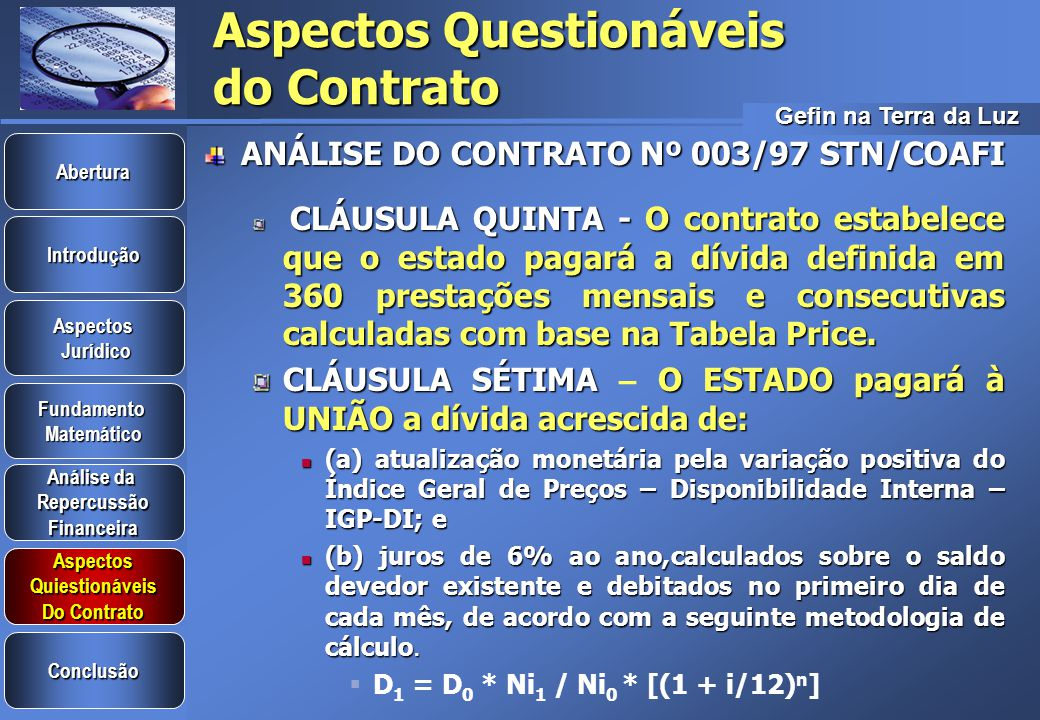 Aspectos Questionáveis do Contrato