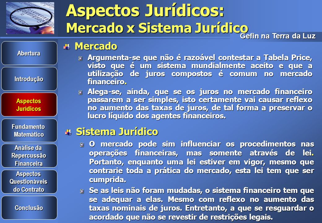 Aspectos Jurídicos: Mercado x Sistema Jurídico