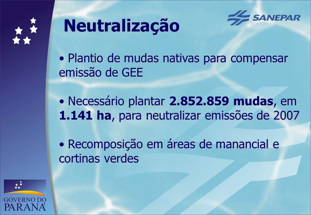 Neutralização Plantio de mudas nativas para compensar emissão de GEE