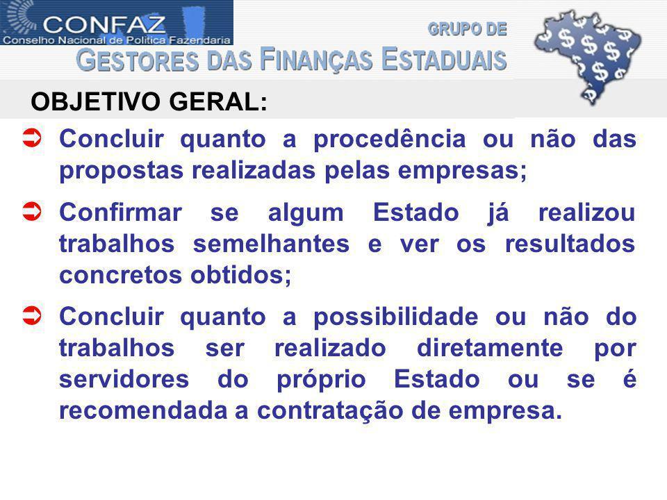 gefin OBJETIVO GERAL: Concluir quanto a procedência ou não das propostas realizadas pelas empresas;
