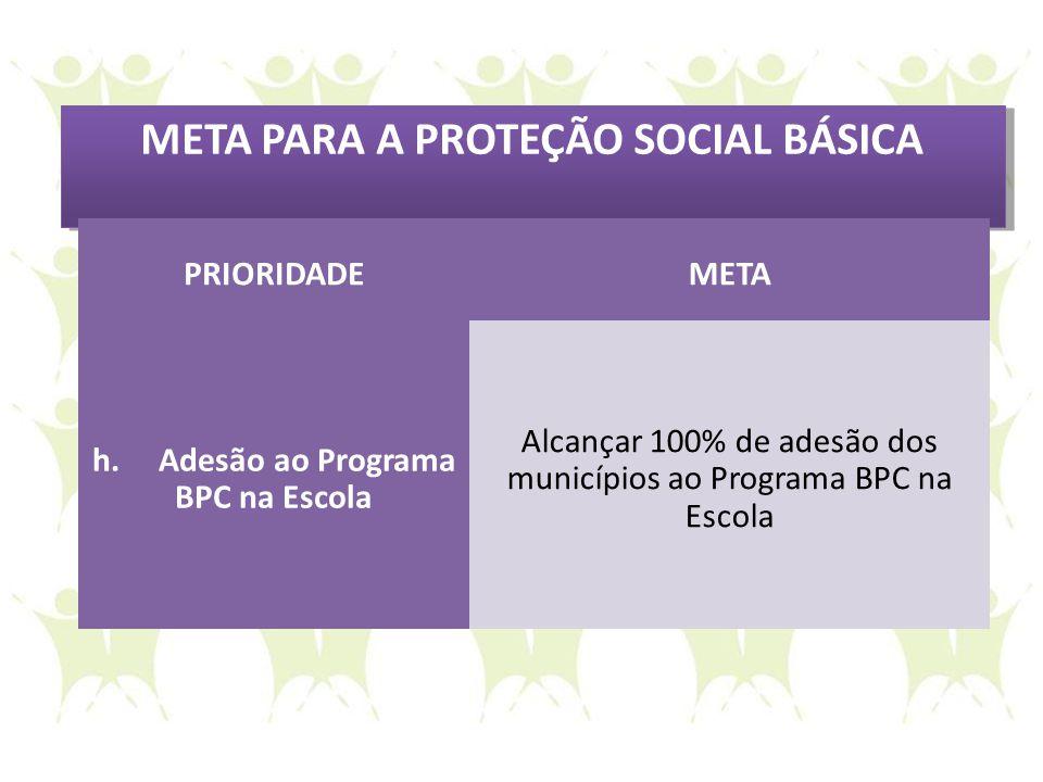 META PARA A PROTEÇÃO SOCIAL BÁSICA h. Adesão ao Programa BPC na Escola
