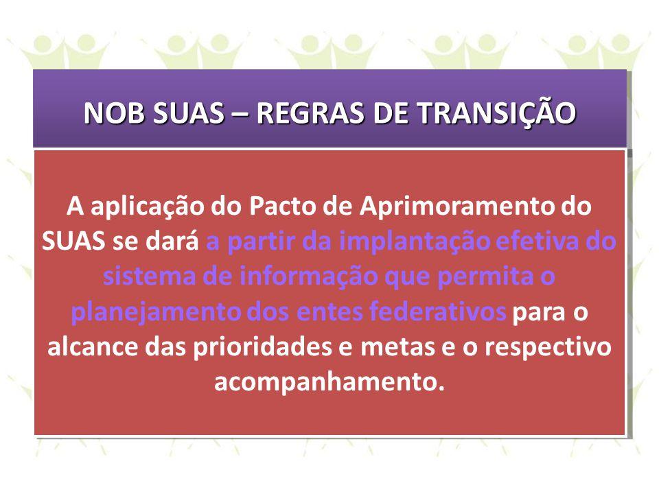 NOB SUAS – REGRAS DE TRANSIÇÃO
