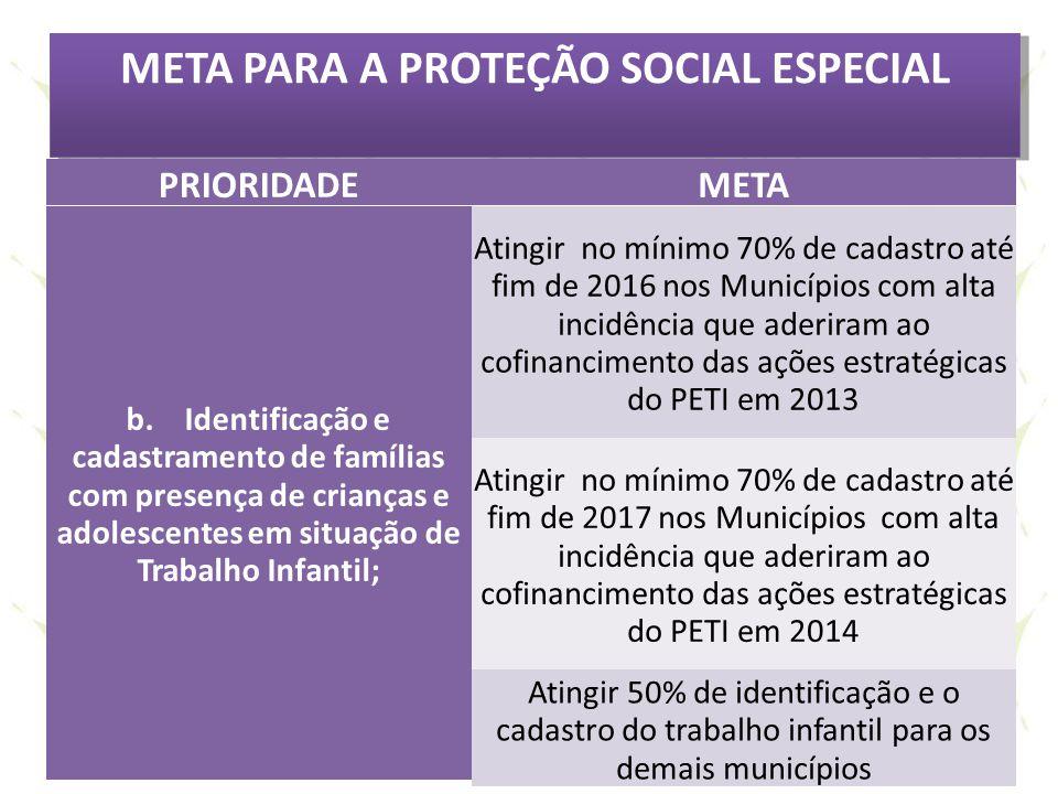 META PARA A PROTEÇÃO SOCIAL ESPECIAL