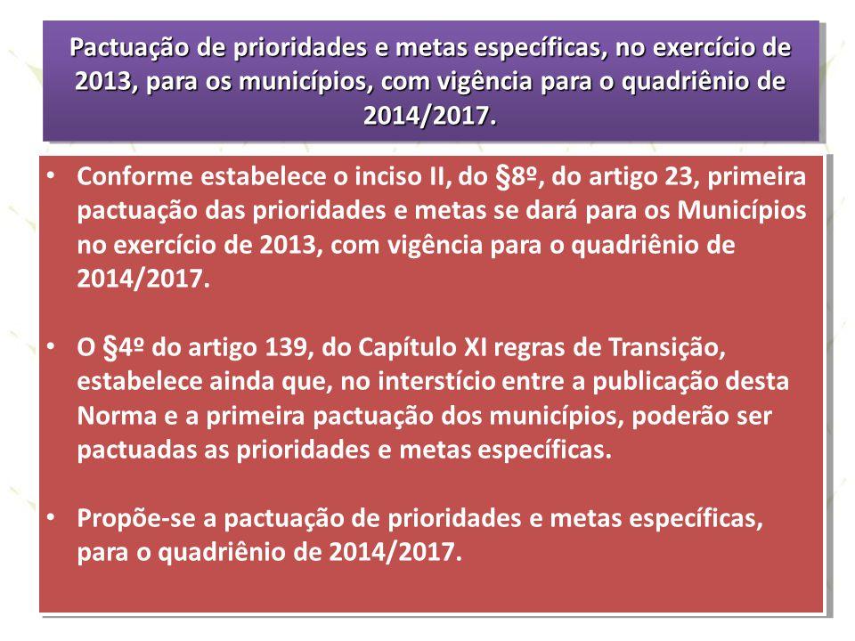 Pactuação de prioridades e metas específicas, no exercício de 2013, para os municípios, com vigência para o quadriênio de 2014/2017.