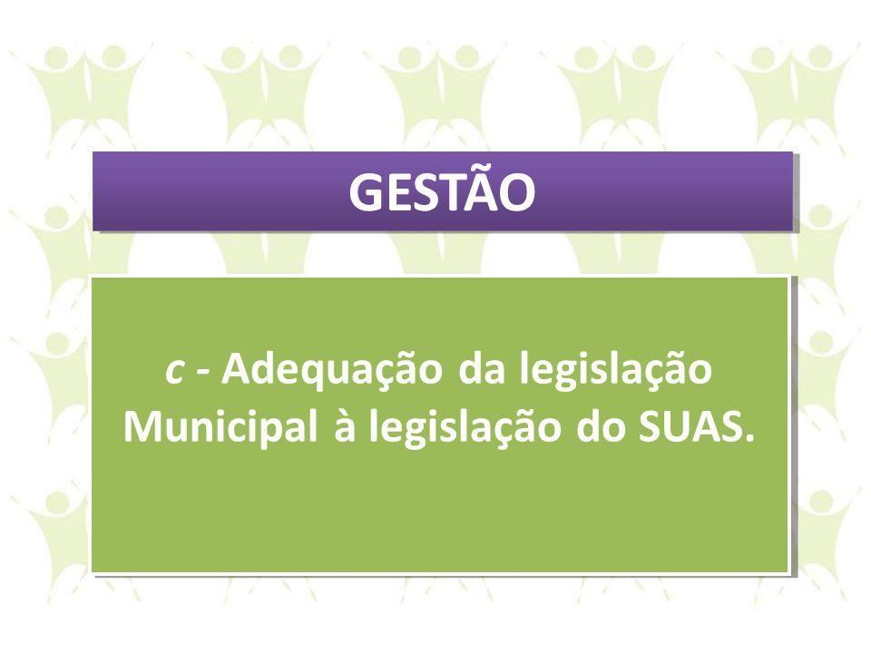 c - Adequação da legislação Municipal à legislação do SUAS.