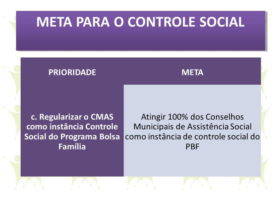 META PARA O CONTROLE SOCIAL