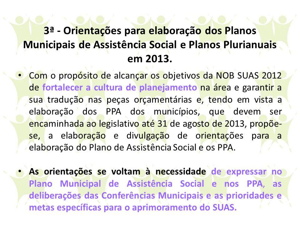 3ª - Orientações para elaboração dos Planos Municipais de Assistência Social e Planos Plurianuais em 2013.
