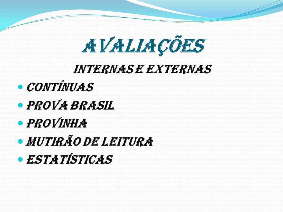 AVALIAÇÕES INTERNAS E EXTERNAS CONTÍNUAS PROVA BRASIL PROVINHA