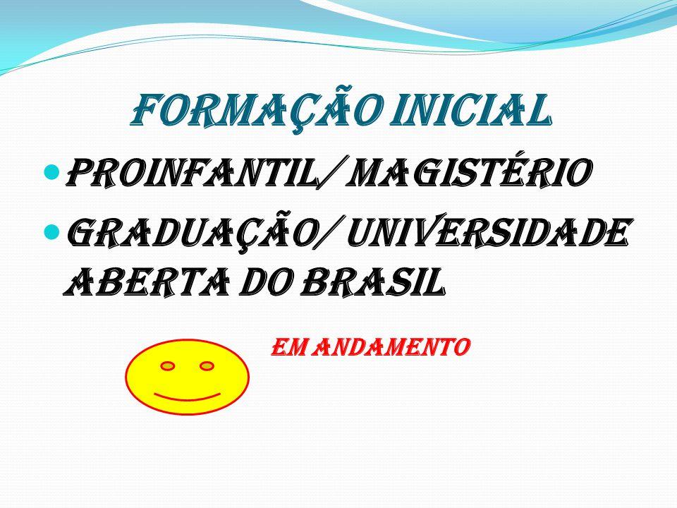 FORMAÇÃO INICIAL Proinfantil/ magistério