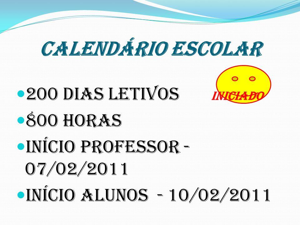 CALENDÁRIO ESCOLAR 200 dias letivos INICIADO 800 horas