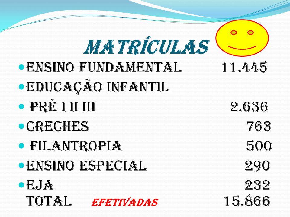 MATRÍCULAS Ensino Fundamental 11.445 Educação Infantil