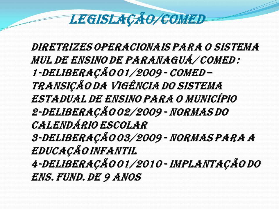 * LEGISLAÇÃO/COMED DIRETRIZES OPERACIONAIS PARA O SISTEMA MUL DE ENSINO DE PARANAGUÁ/ COMED : 1-DELIBERAÇÃO 01/2009 - COMED – Transição da vigência do Sistema Estadual de Ensino para o Município 2-DELIBERAÇÃO 02/2009 - Normas do Calendário Escolar 3-DELIBERAÇÃO 03/2009 - Normas para a Educação Infantil 4-DELIBERAÇÃO 01/2010 - Implantação do Ens.