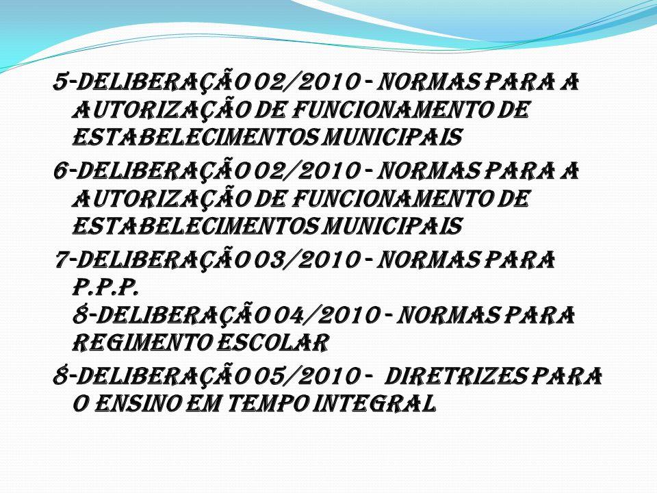 5-DELIBERAÇÃO 02/2010 - Normas para a Autorização de Funcionamento de Estabelecimentos Municipais 6-DELIBERAÇÃO 02/2010 - Normas para a Autorização de Funcionamento de Estabelecimentos Municipais 7-DELIBERAÇÃO 03/2010 - Normas para P.P.P.
