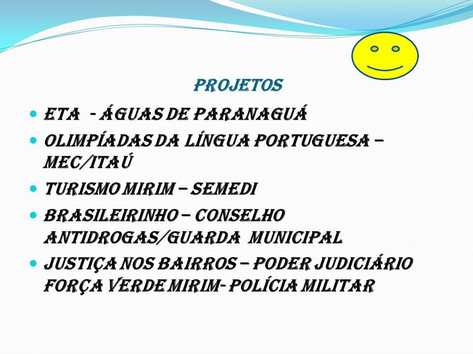 PROJETOS ETA - Águas de Paranaguá. Olimpíadas da Língua Portuguesa –MEC/ITAÚ. Turismo Mirim – SEMEDI.