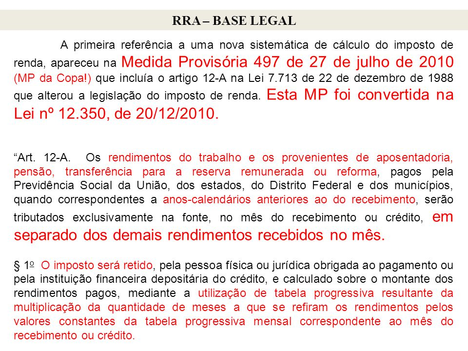 RRA – BASE LEGAL
