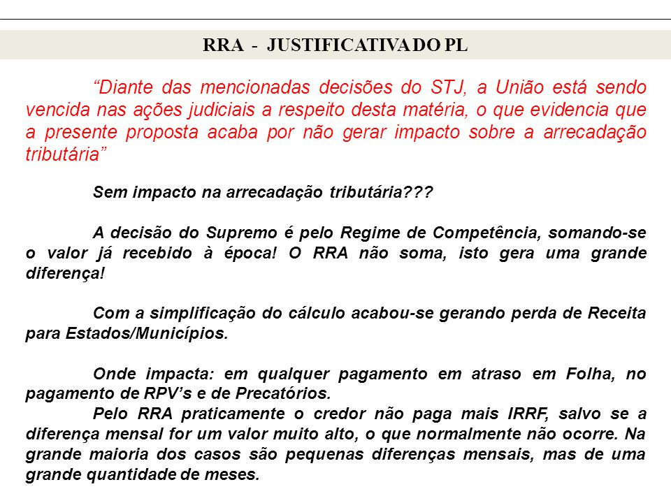 RRA - JUSTIFICATIVA DO PL