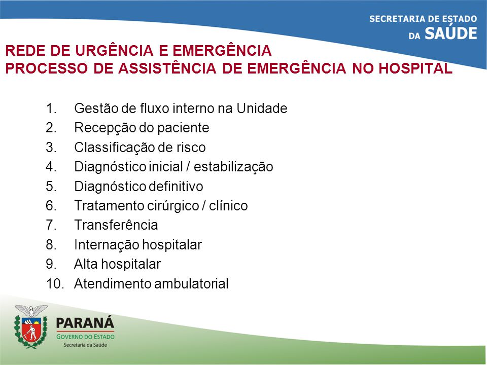 REDE DE URGÊNCIA E EMERGÊNCIA PROCESSO DE ASSISTÊNCIA DE EMERGÊNCIA NO HOSPITAL