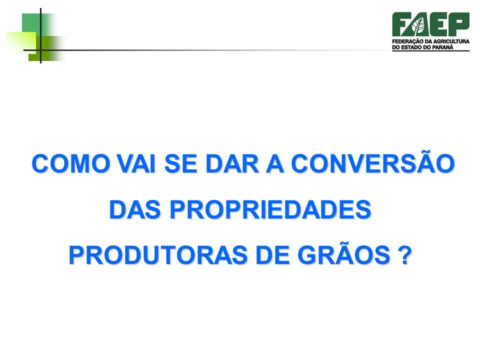 COMO VAI SE DAR A CONVERSÃO DAS PROPRIEDADES PRODUTORAS DE GRÃOS