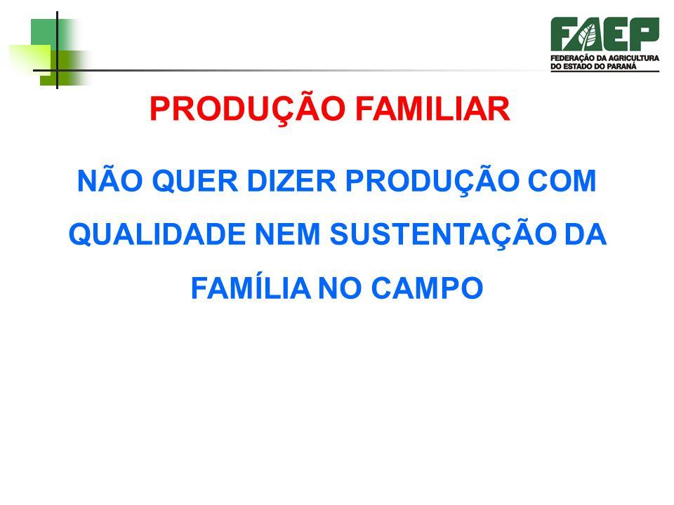 PRODUÇÃO FAMILIAR NÃO QUER DIZER PRODUÇÃO COM QUALIDADE NEM SUSTENTAÇÃO DA FAMÍLIA NO CAMPO