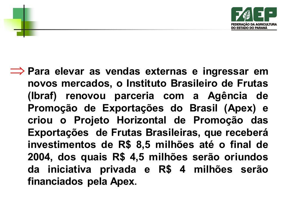 Para elevar as vendas externas e ingressar em novos mercados, o Instituto Brasileiro de Frutas (Ibraf) renovou parceria com a Agência de Promoção de Exportações do Brasil (Apex) e criou o Projeto Horizontal de Promoção das Exportações de Frutas Brasileiras, que receberá investimentos de R$ 8,5 milhões até o final de 2004, dos quais R$ 4,5 milhões serão oriundos da iniciativa privada e R$ 4 milhões serão financiados pela Apex.
