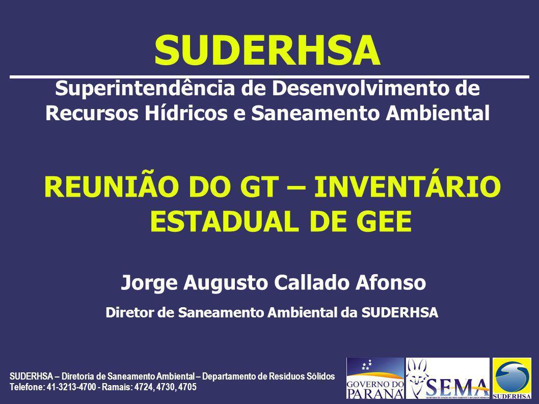 SUDERHSA Superintendência de Desenvolvimento de Recursos Hídricos e Saneamento Ambiental