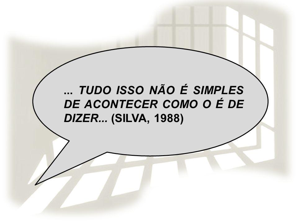... TUDO ISSO NÃO É SIMPLES DE ACONTECER COMO O É DE DIZER... (SILVA, 1988)