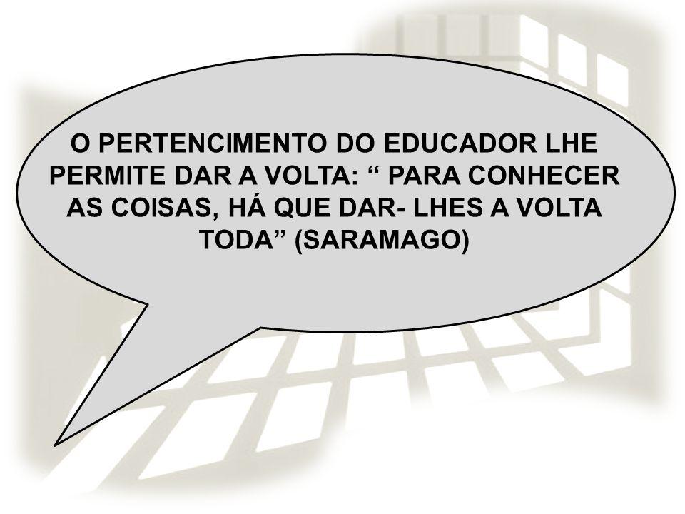 O PERTENCIMENTO DO EDUCADOR LHE PERMITE DAR A VOLTA: PARA CONHECER AS COISAS, HÁ QUE DAR- LHES A VOLTA TODA (SARAMAGO)