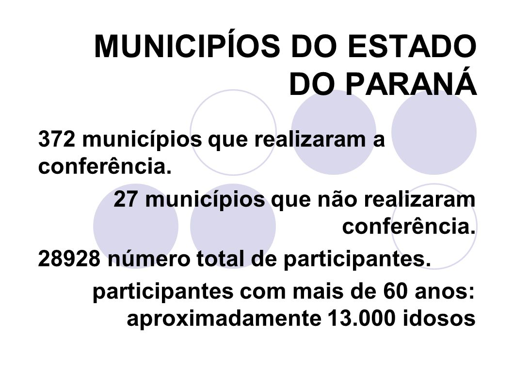 MUNICIPÍOS DO ESTADO DO PARANÁ