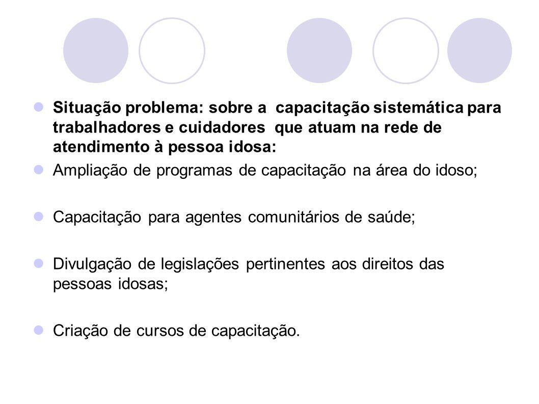 Situação problema: sobre a capacitação sistemática para trabalhadores e cuidadores que atuam na rede de atendimento à pessoa idosa: