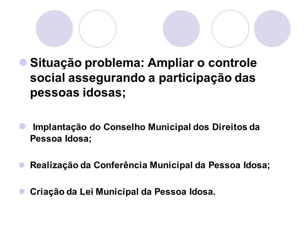 Situação problema: Ampliar o controle social assegurando a participação das pessoas idosas;