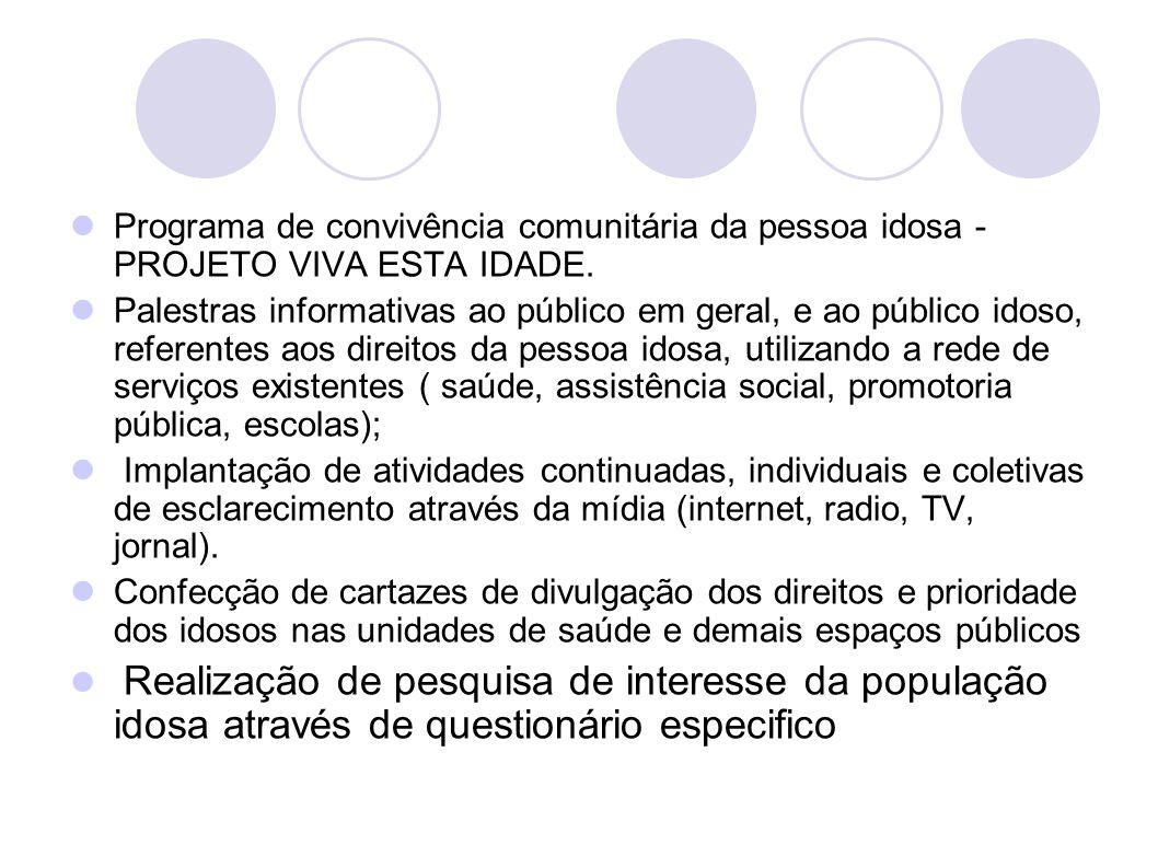 Programa de convivência comunitária da pessoa idosa - PROJETO VIVA ESTA IDADE.