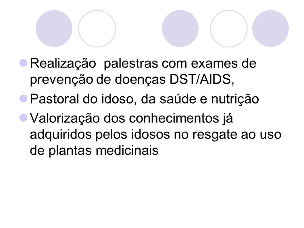 Realização palestras com exames de prevenção de doenças DST/AIDS,