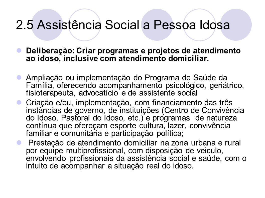 2.5 Assistência Social a Pessoa Idosa