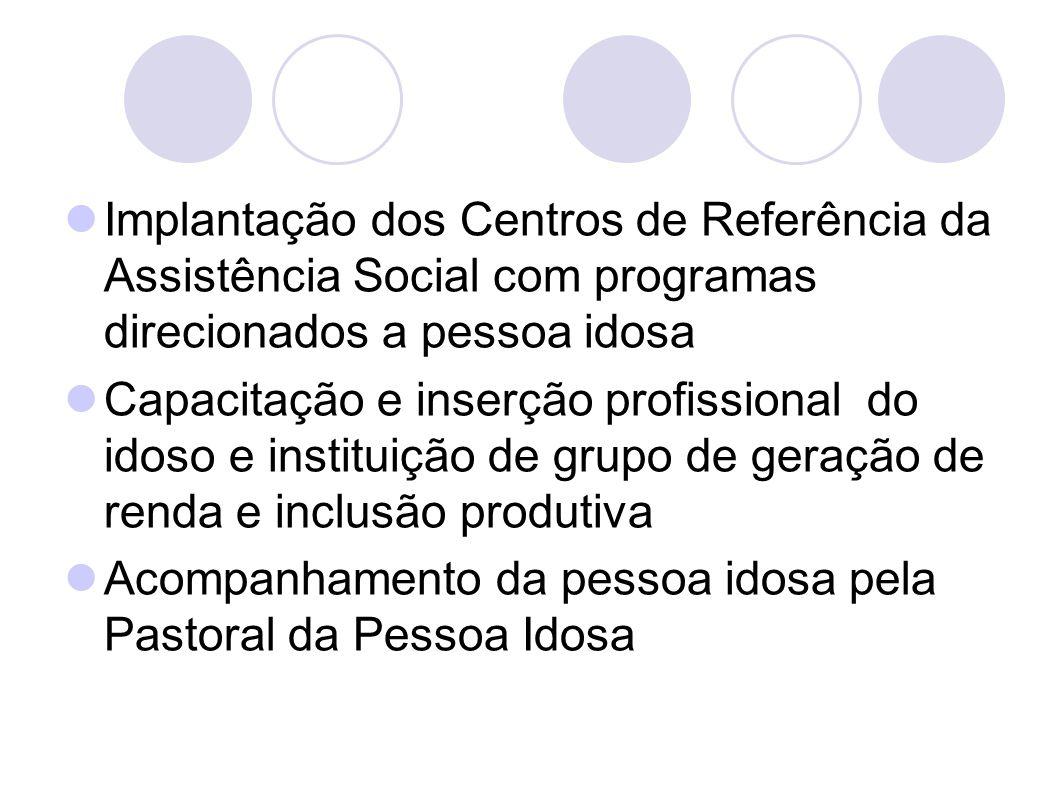 Implantação dos Centros de Referência da Assistência Social com programas direcionados a pessoa idosa