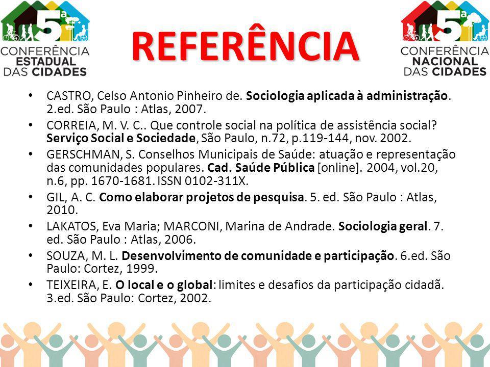 REFERÊNCIA CASTRO, Celso Antonio Pinheiro de. Sociologia aplicada à administração. 2.ed. São Paulo : Atlas, 2007.